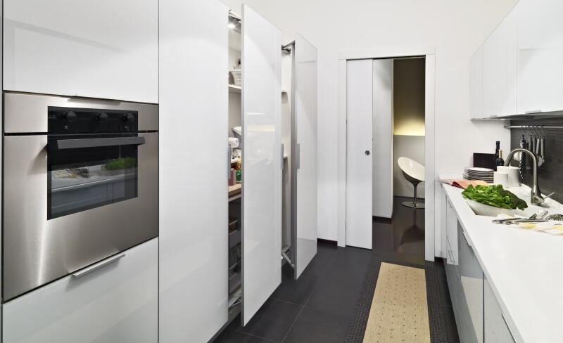 modern white kitchen cabinets in a modern kitchen